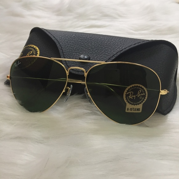 f994bcb0cbe RB3025 L0205 Dark-Green Sunglasses Gold Frame.
